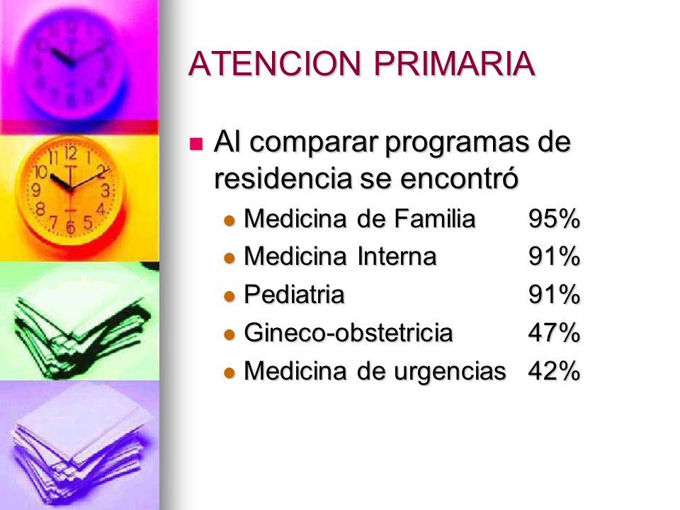 ATENCION PRIMARIA Al comparar programas de residencia se encontró