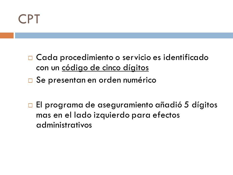 CPT Cada procedimiento o servicio es identificado con un código de cinco dígitos. Se presentan en orden numérico.