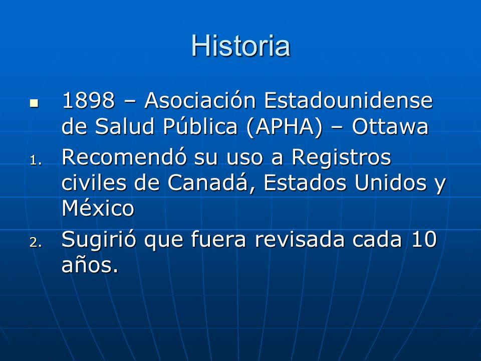 Historia 1898 – Asociación Estadounidense de Salud Pública (APHA) – Ottawa. Recomendó su uso a Registros civiles de Canadá, Estados Unidos y México.