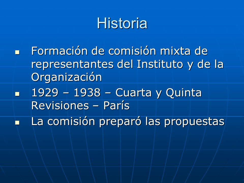 Historia Formación de comisión mixta de representantes del Instituto y de la Organización. 1929 – 1938 – Cuarta y Quinta Revisiones – París.