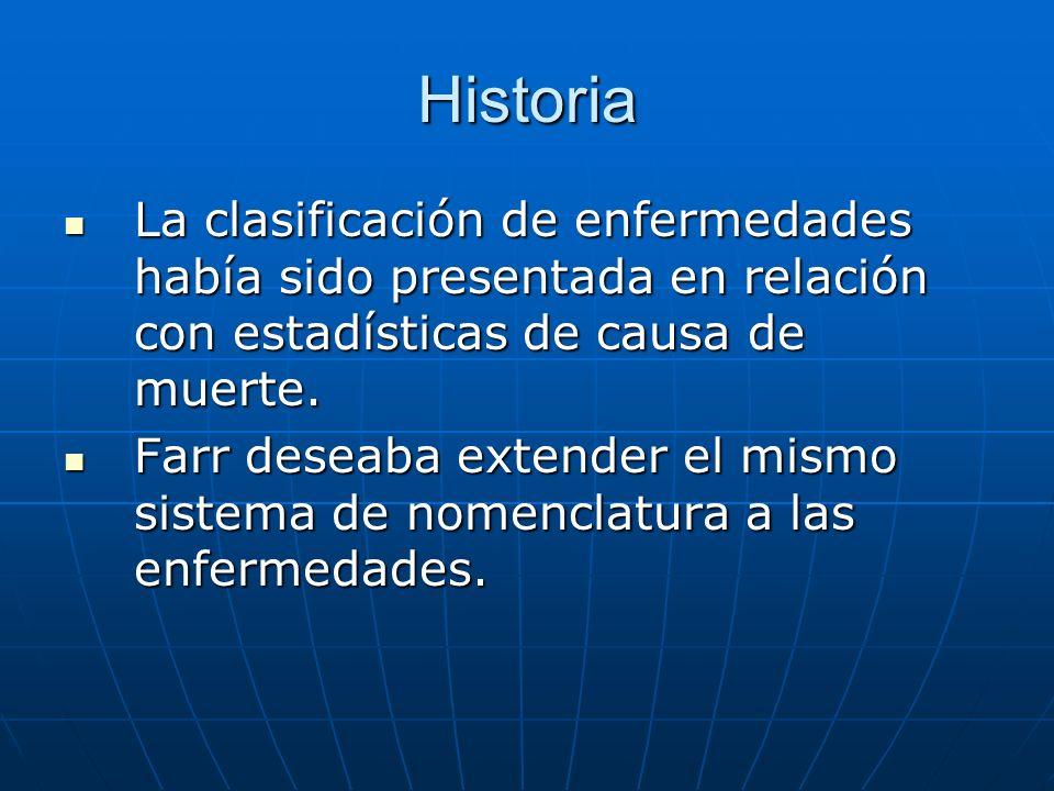 Historia La clasificación de enfermedades había sido presentada en relación con estadísticas de causa de muerte.