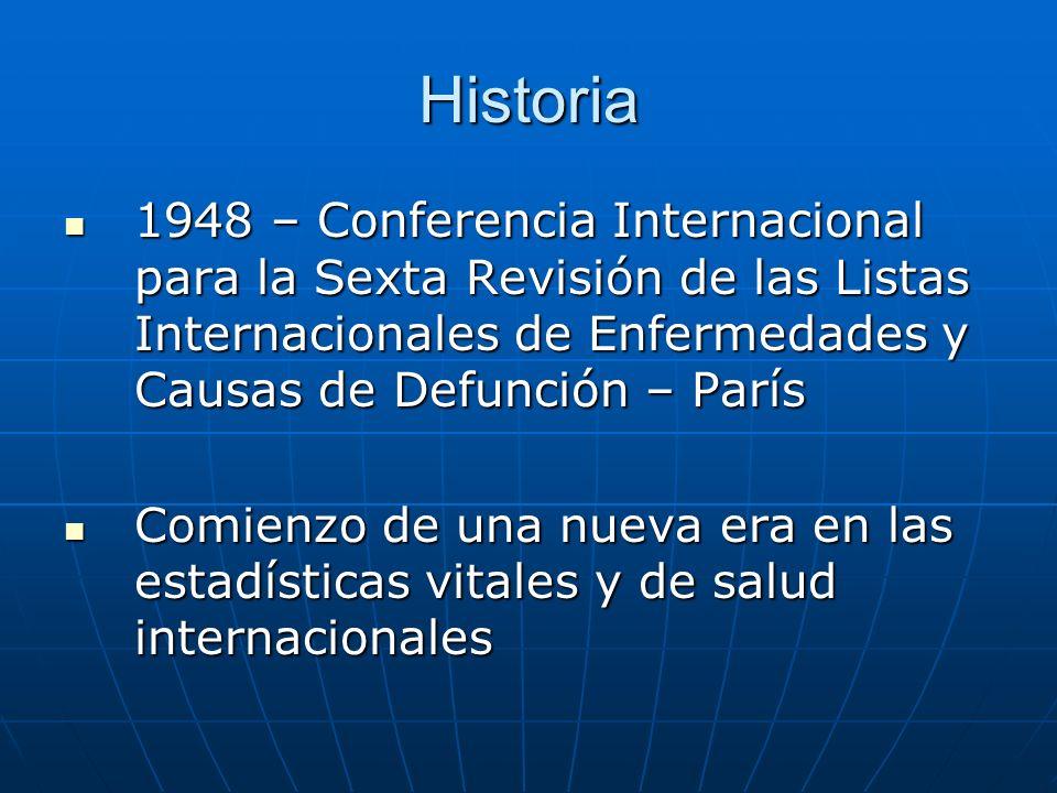 Historia 1948 – Conferencia Internacional para la Sexta Revisión de las Listas Internacionales de Enfermedades y Causas de Defunción – París.
