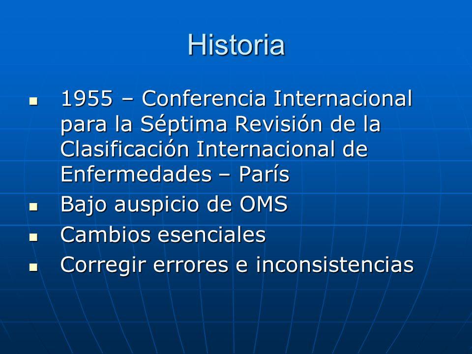 Historia 1955 – Conferencia Internacional para la Séptima Revisión de la Clasificación Internacional de Enfermedades – París.