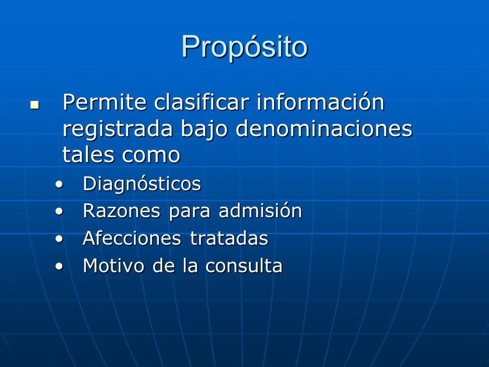 Propósito Permite clasificar información registrada bajo denominaciones tales como. Diagnósticos. Razones para admisión.