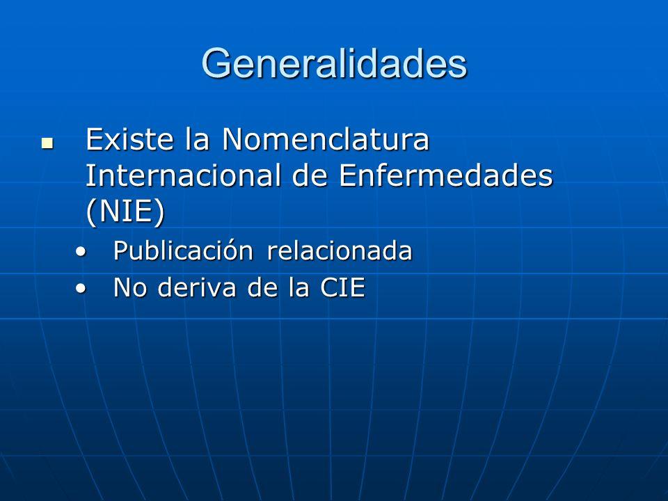 Generalidades Existe la Nomenclatura Internacional de Enfermedades (NIE) Publicación relacionada.