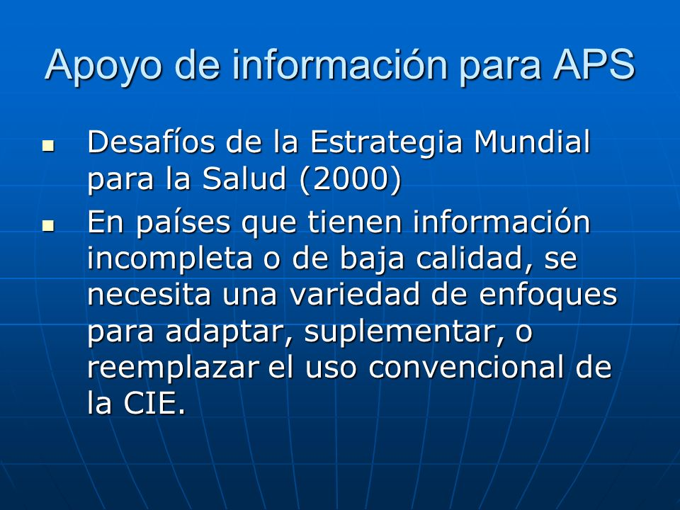 Apoyo de información para APS