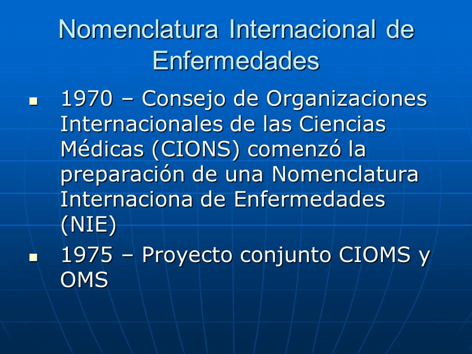 Nomenclatura Internacional de Enfermedades