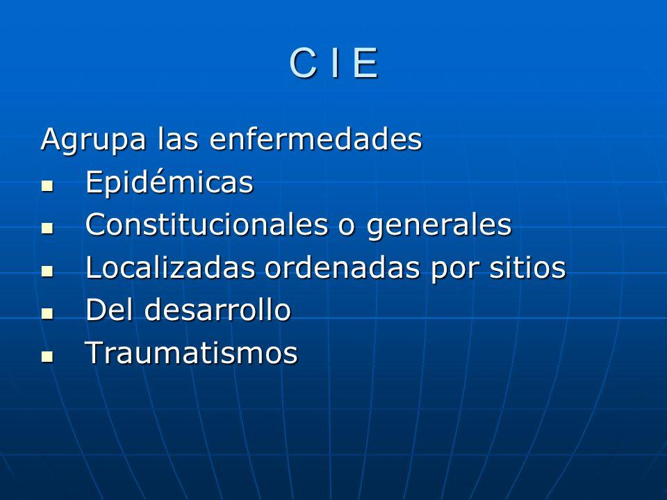 C I E Agrupa las enfermedades Epidémicas Constitucionales o generales