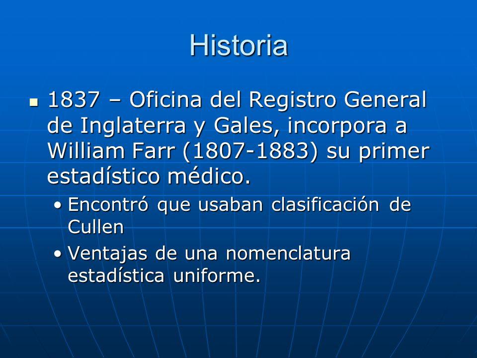 Historia 1837 – Oficina del Registro General de Inglaterra y Gales, incorpora a William Farr (1807-1883) su primer estadístico médico.
