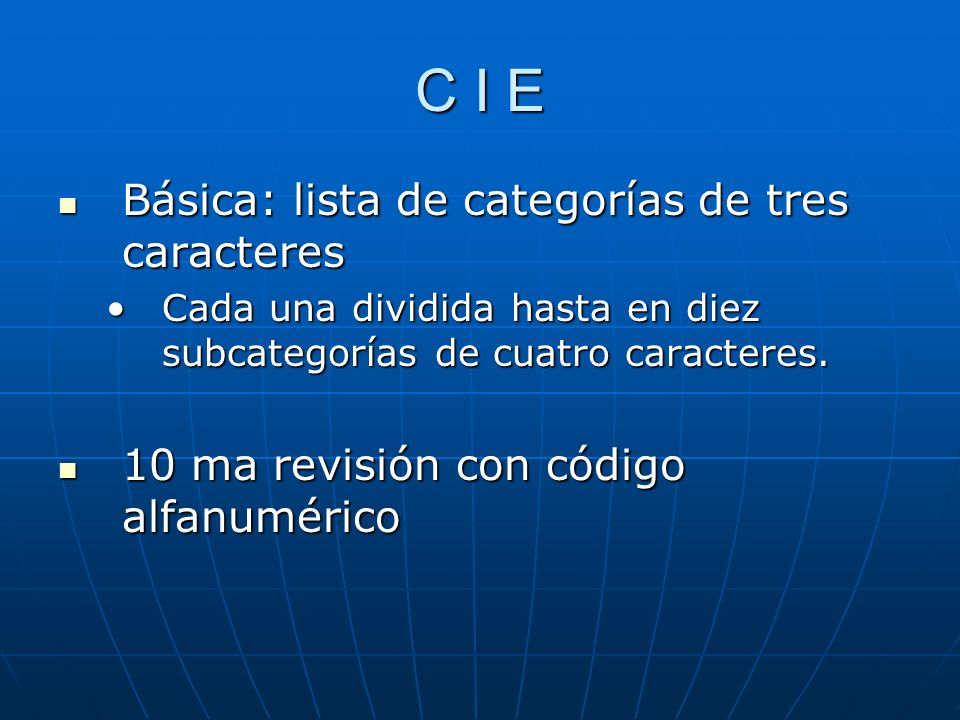 C I E Básica: lista de categorías de tres caracteres