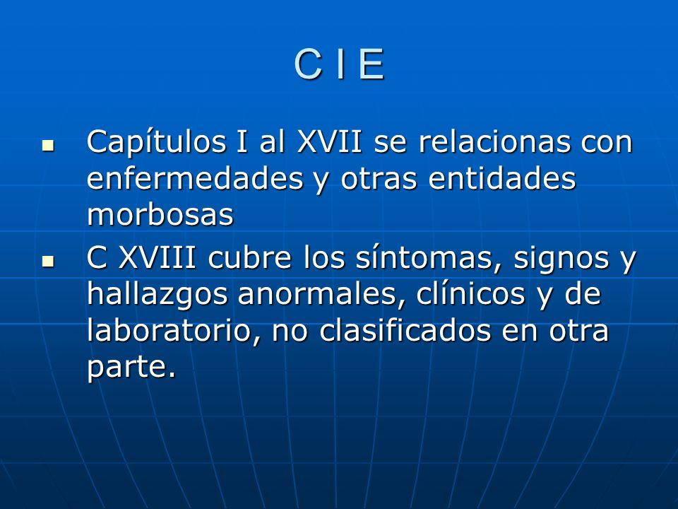 C I E Capítulos I al XVII se relacionas con enfermedades y otras entidades morbosas.