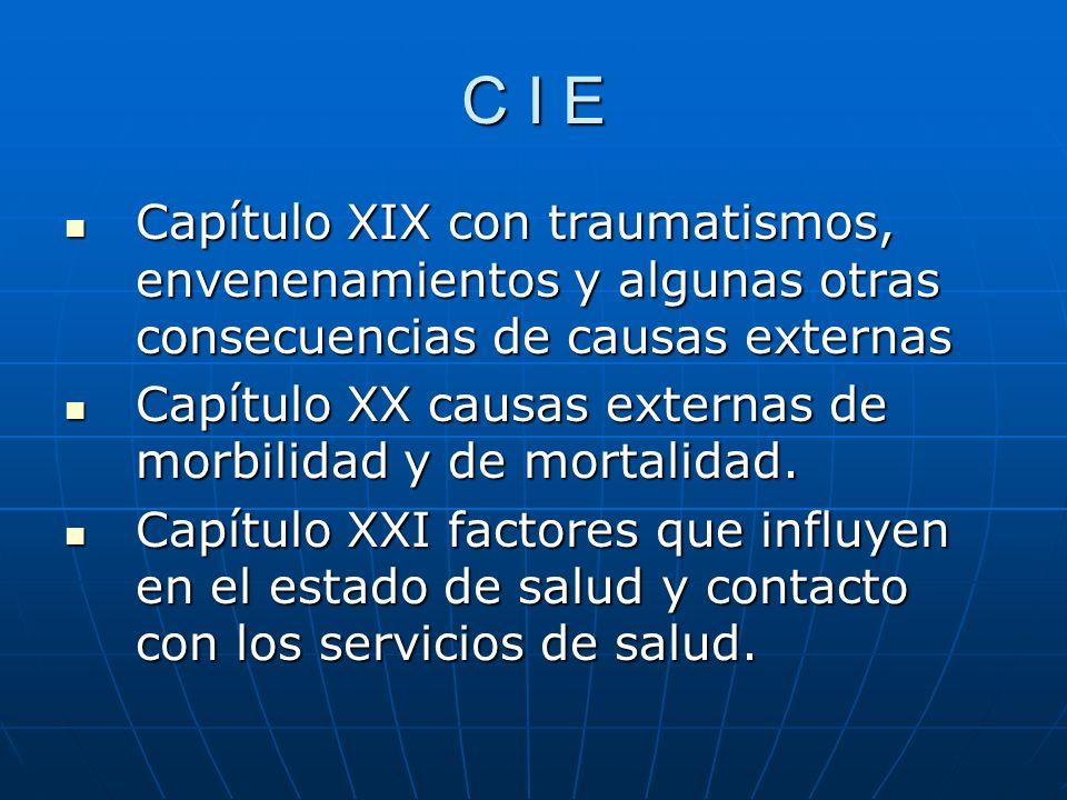 C I E Capítulo XIX con traumatismos, envenenamientos y algunas otras consecuencias de causas externas.