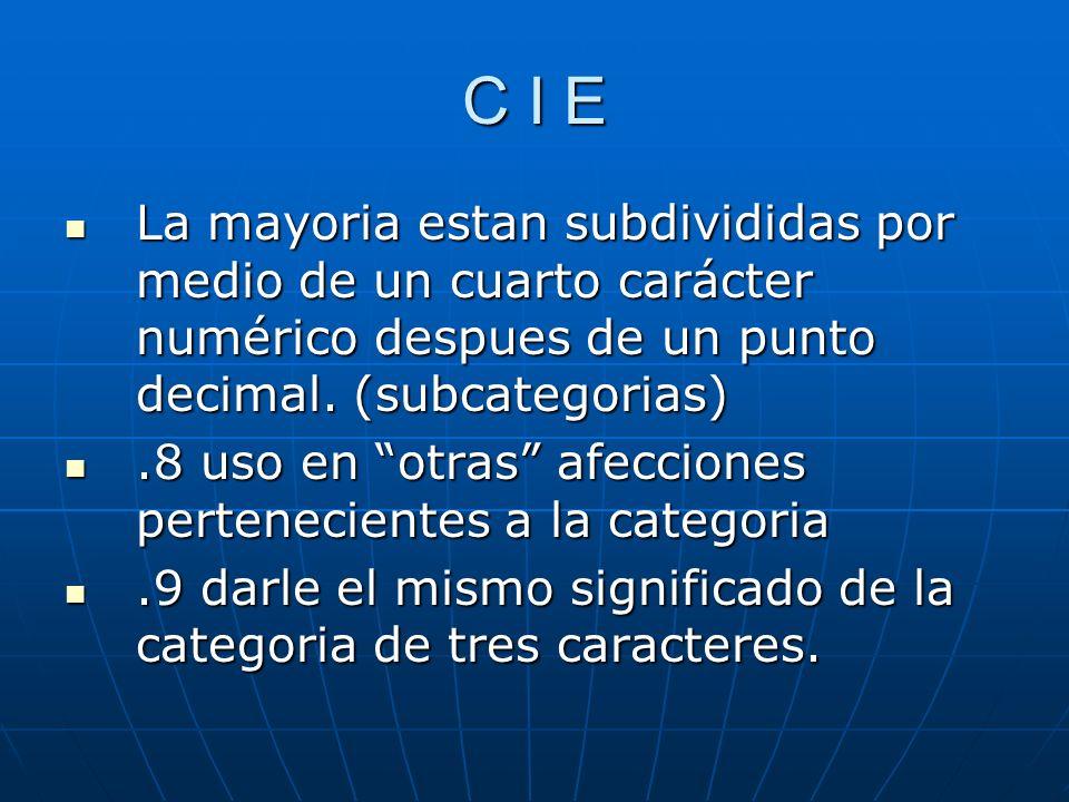 C I E La mayoria estan subdivididas por medio de un cuarto carácter numérico despues de un punto decimal. (subcategorias)