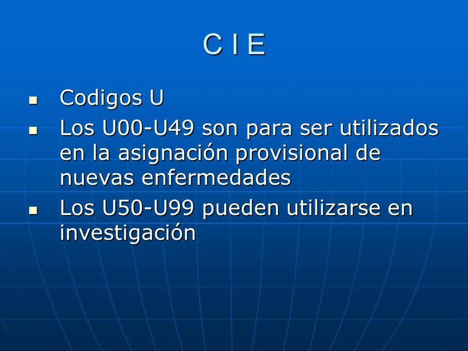C I E Codigos U. Los U00-U49 son para ser utilizados en la asignación provisional de nuevas enfermedades.