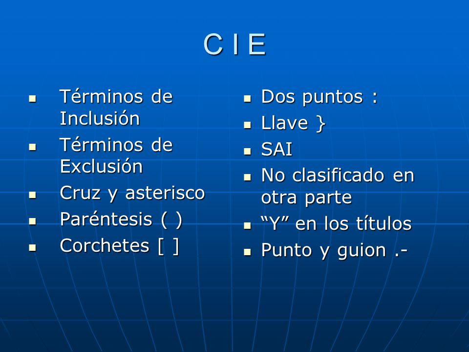 C I E Términos de Inclusión Términos de Exclusión Cruz y asterisco