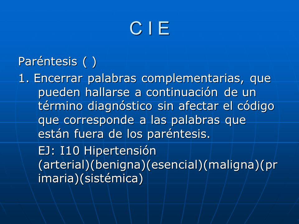 C I E Paréntesis ( )