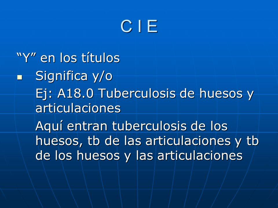 C I E Y en los títulos Significa y/o