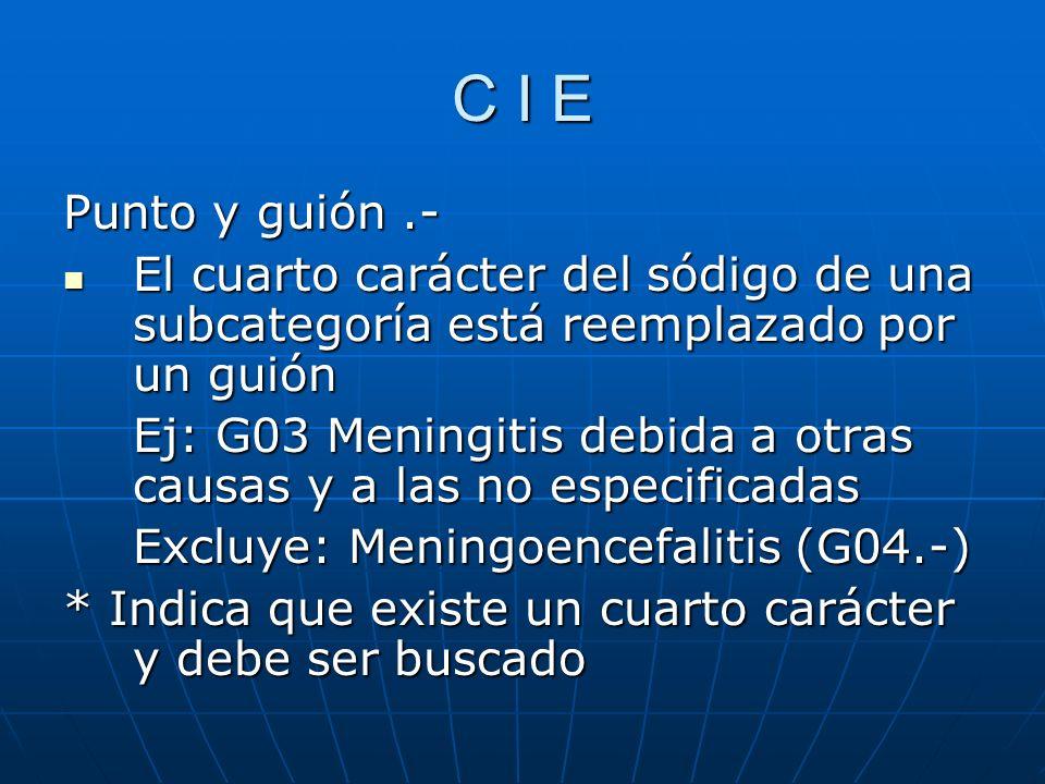 C I E Punto y guión .- El cuarto carácter del sódigo de una subcategoría está reemplazado por un guión.