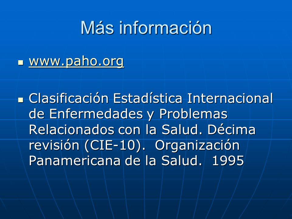 Más información www.paho.org