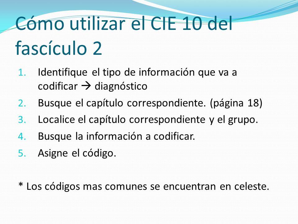 Cómo utilizar el CIE 10 del fascículo 2