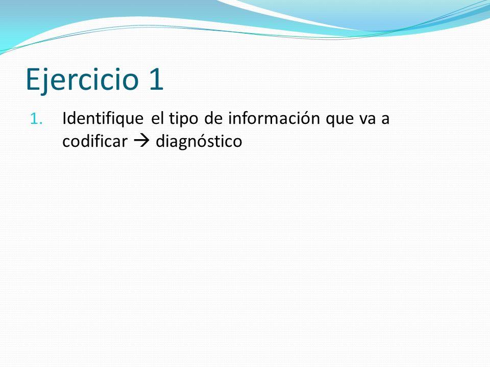 Ejercicio 1 Identifique el tipo de información que va a codificar  diagnóstico