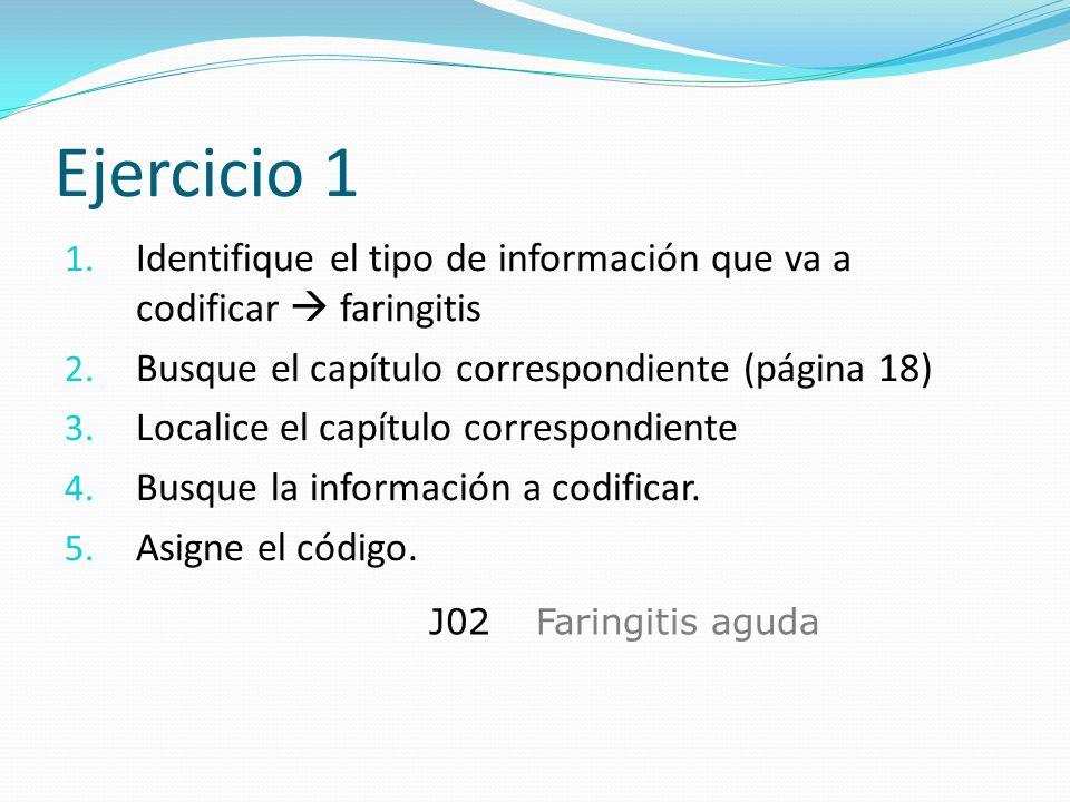 Ejercicio 1 Identifique el tipo de información que va a codificar  faringitis. Busque el capítulo correspondiente (página 18)