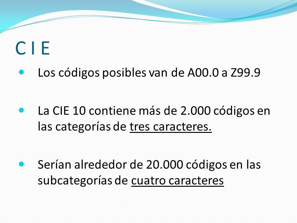 C I E Los códigos posibles van de A00.0 a Z99.9