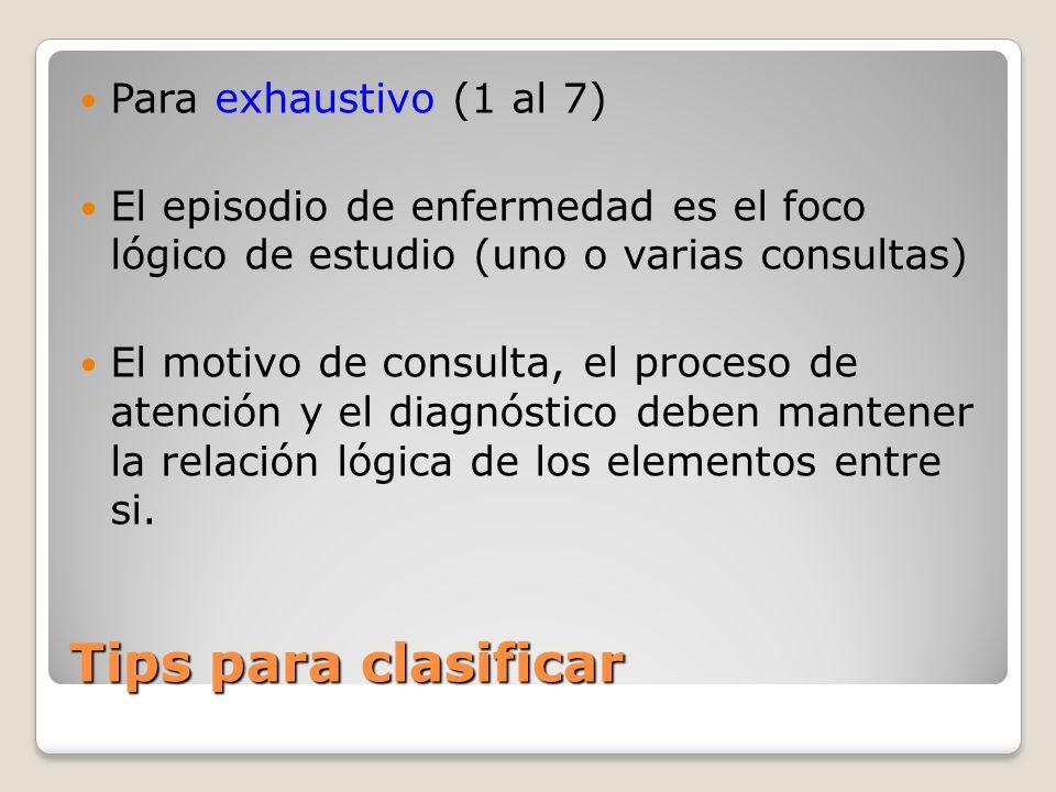 Tips para clasificar Para exhaustivo (1 al 7)