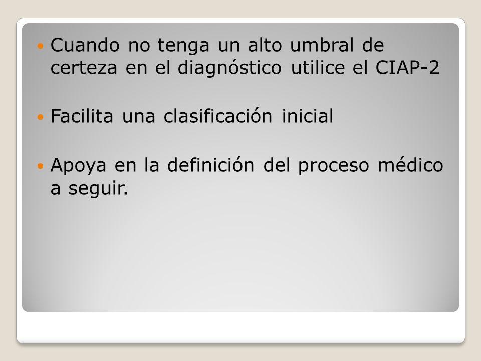 Cuando no tenga un alto umbral de certeza en el diagnóstico utilice el CIAP-2