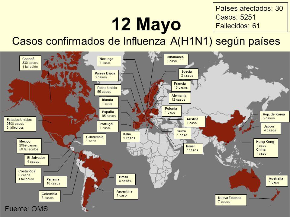 12 Mayo Casos confirmados de Influenza A(H1N1) según países