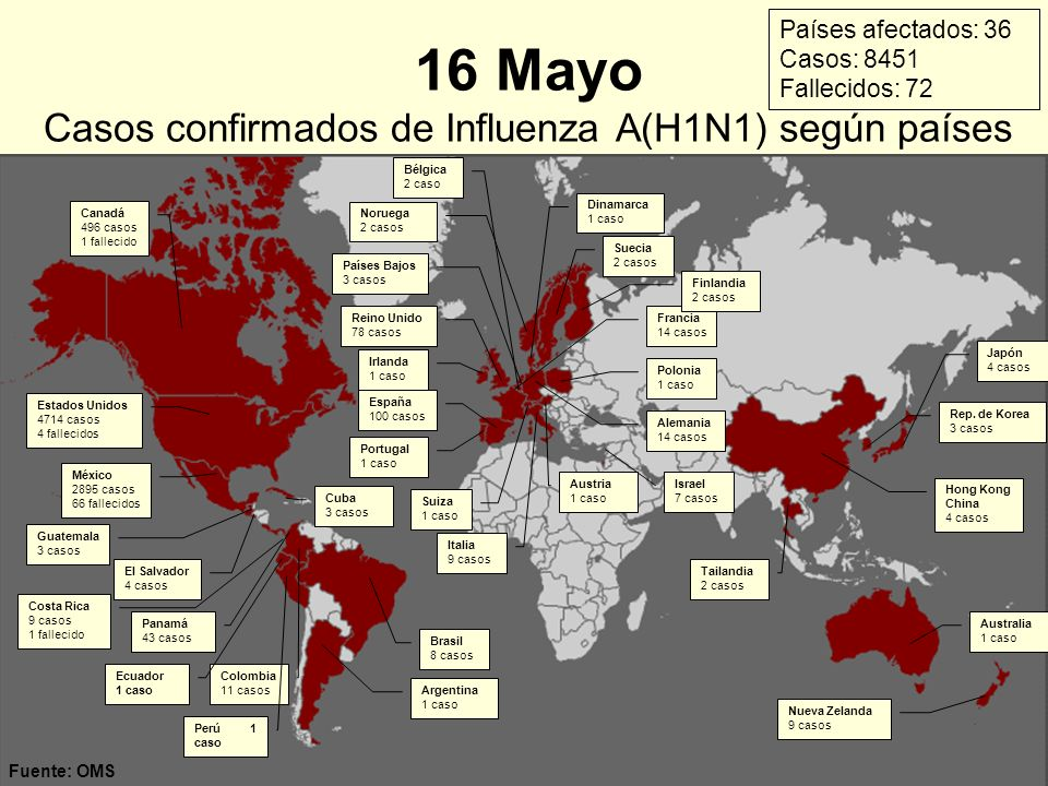 16 Mayo Casos confirmados de Influenza A(H1N1) según países