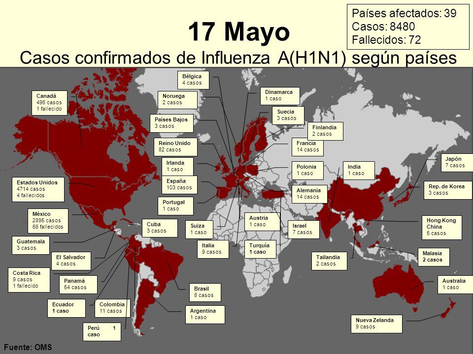17 Mayo Casos confirmados de Influenza A(H1N1) según países