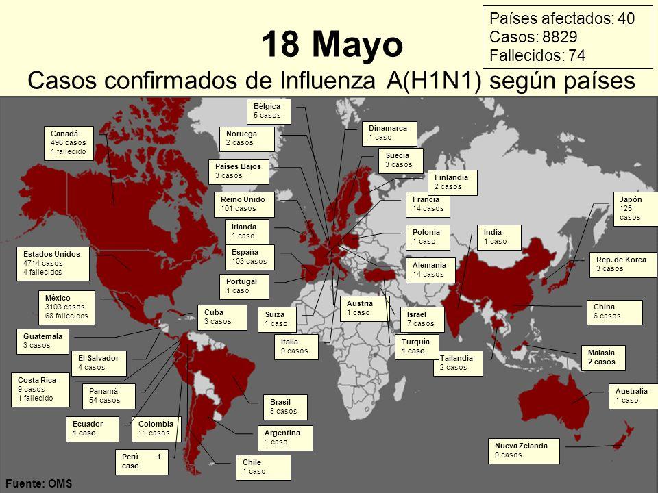 18 Mayo Casos confirmados de Influenza A(H1N1) según países