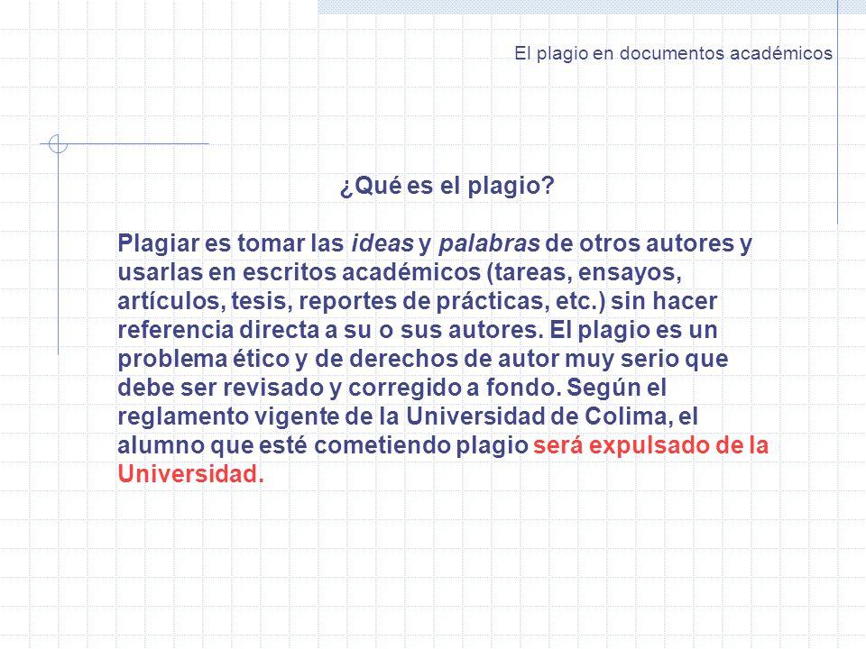 El plagio en documentos académicos