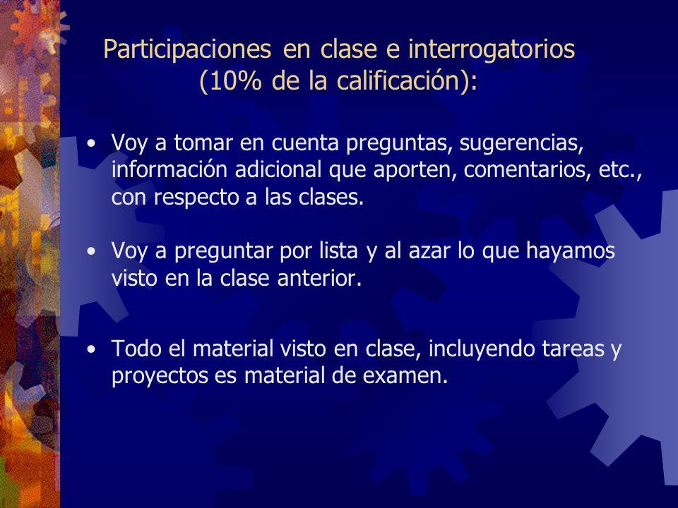 Participaciones en clase e interrogatorios (10% de la calificación):