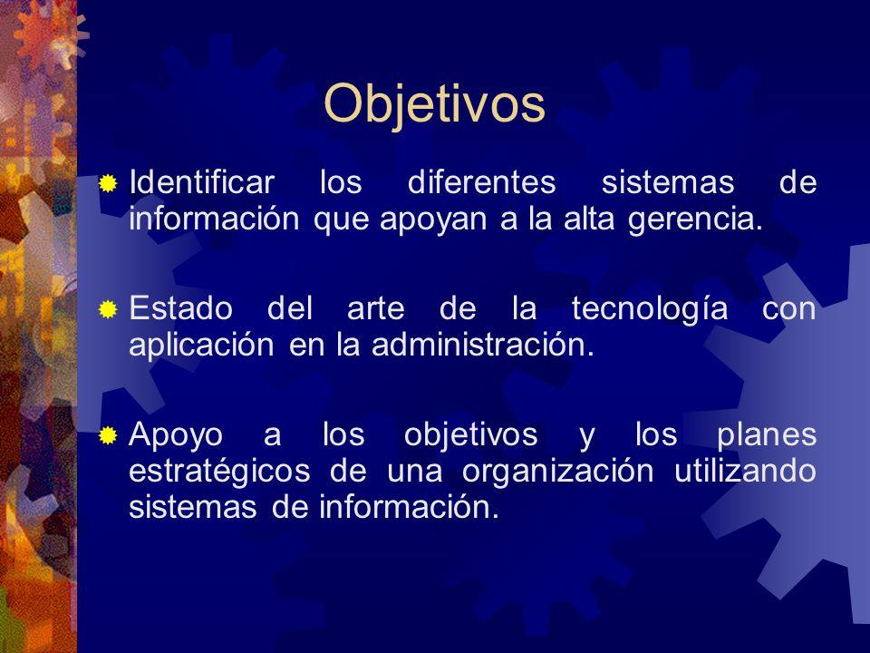 Objetivos Identificar los diferentes sistemas de información que apoyan a la alta gerencia.