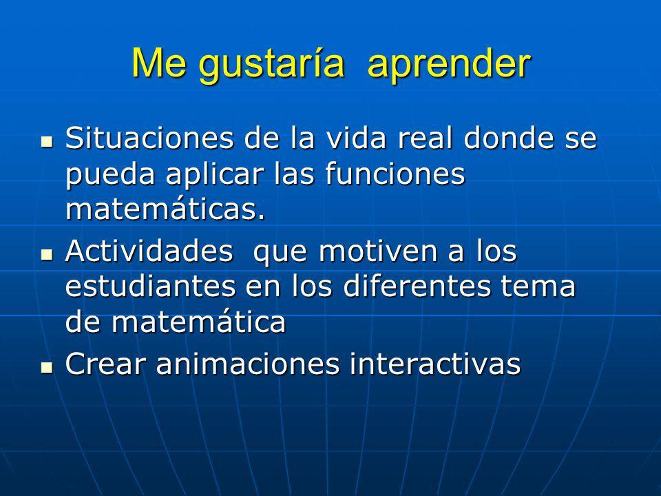 Me gustaría aprender Situaciones de la vida real donde se pueda aplicar las funciones matemáticas.