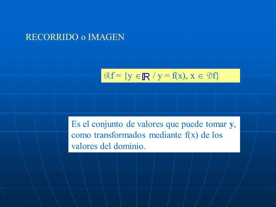 RECORRIDO o IMAGEN Rf = {y  / y = f(x), x  Df}