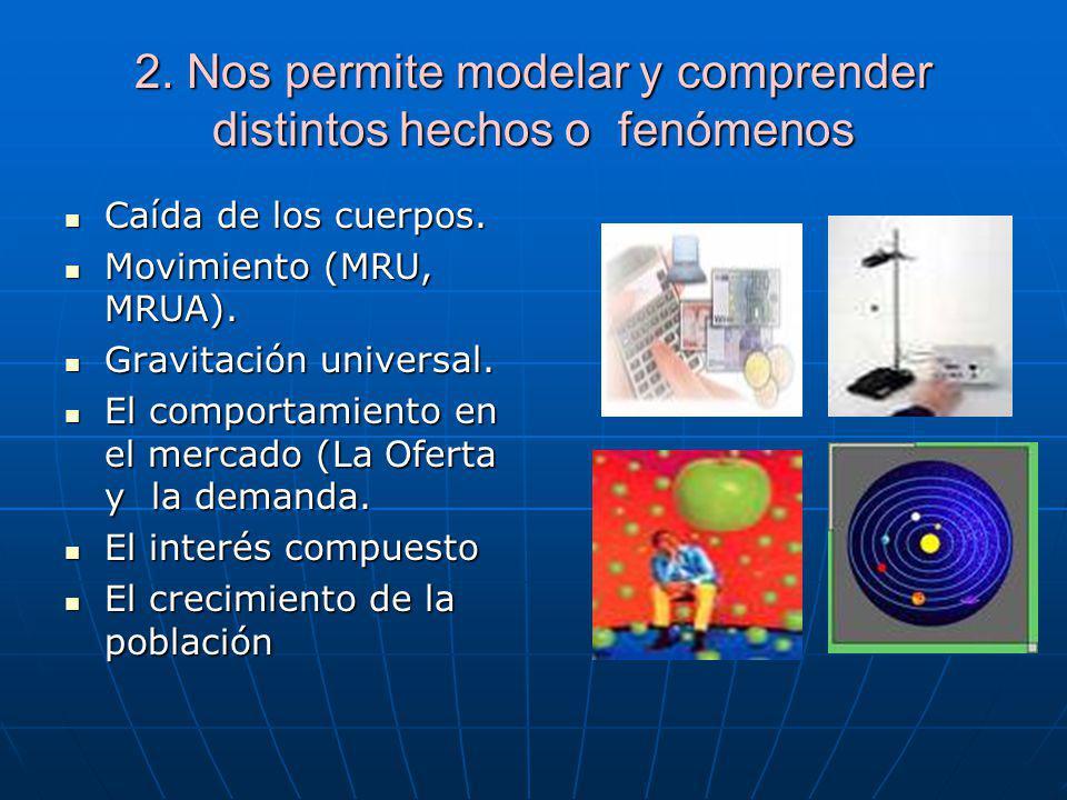 2. Nos permite modelar y comprender distintos hechos o fenómenos