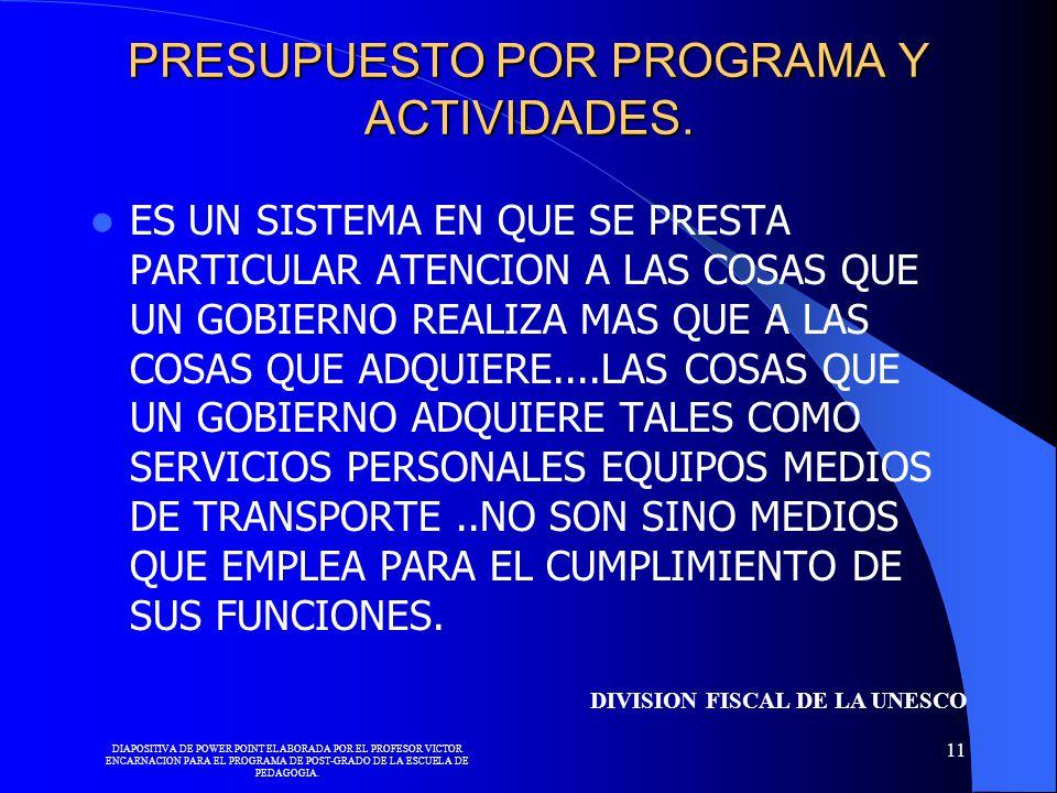 PRESUPUESTO POR PROGRAMA Y ACTIVIDADES.