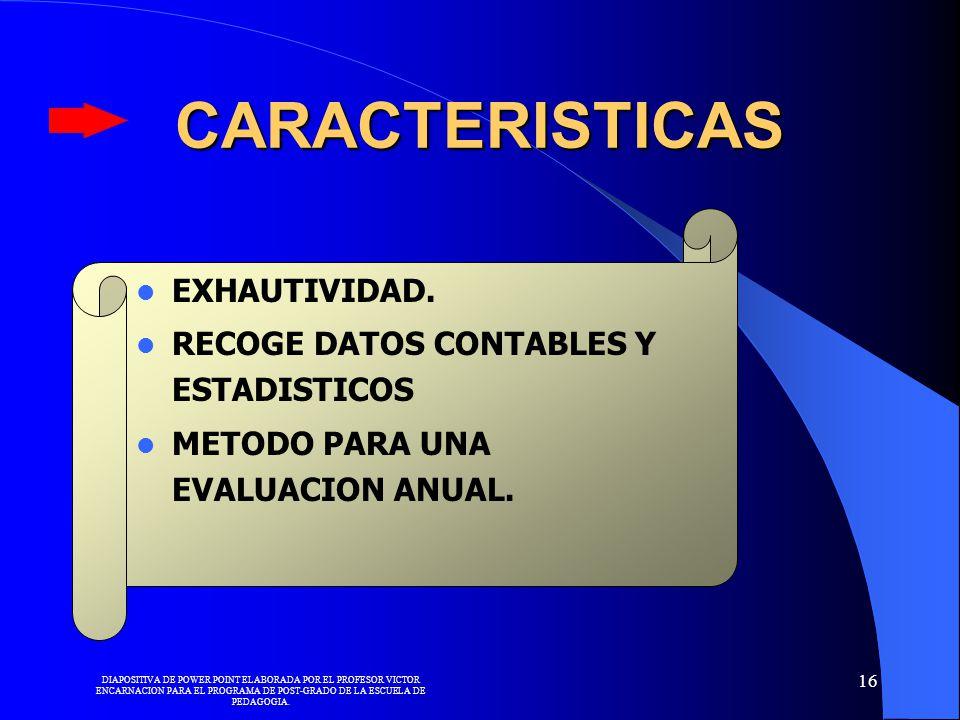 CARACTERISTICAS EXHAUTIVIDAD. RECOGE DATOS CONTABLES Y ESTADISTICOS