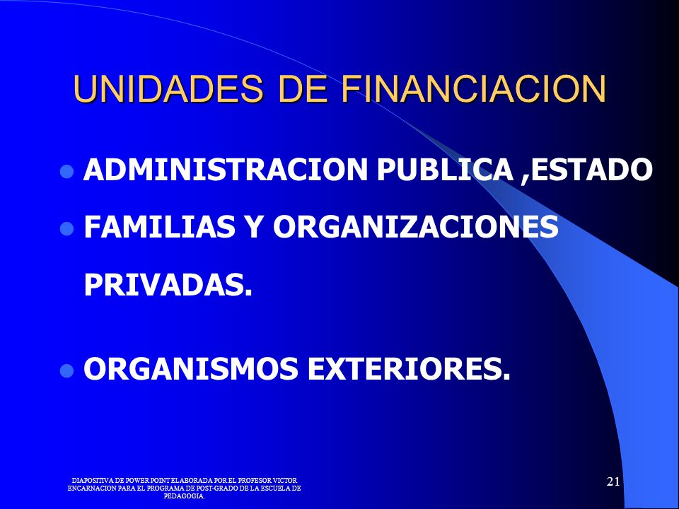 UNIDADES DE FINANCIACION