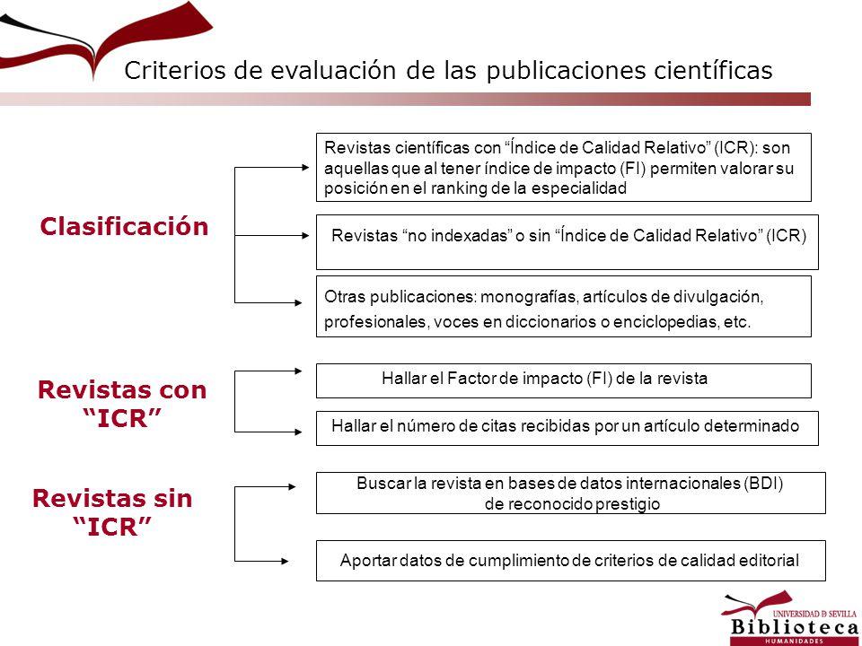Clasificación Revistas con ICR Revistas sin ICR