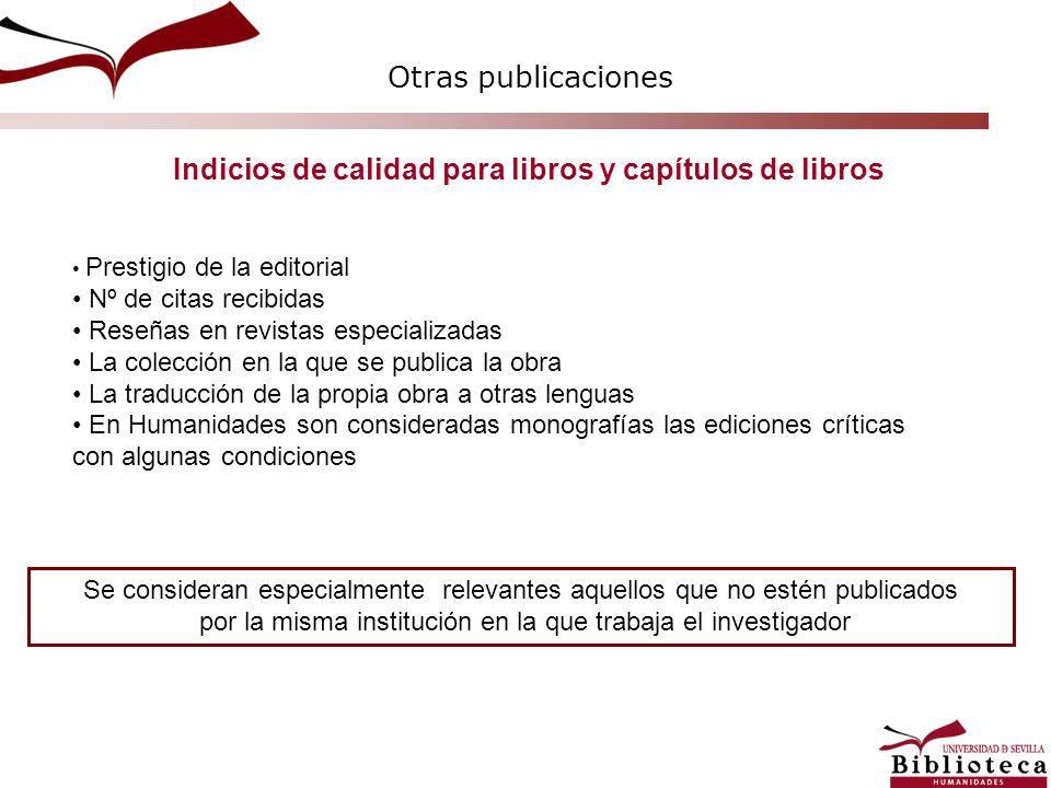 Indicios de calidad para libros y capítulos de libros