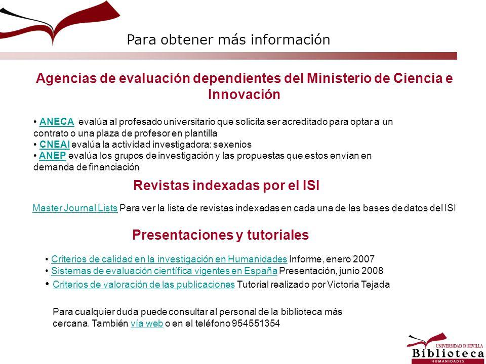 Revistas indexadas por el ISI Presentaciones y tutoriales