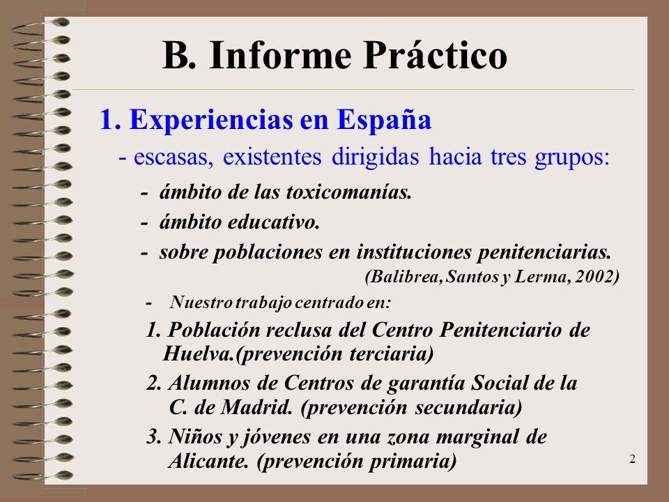 B. Informe Práctico 1. Experiencias en España