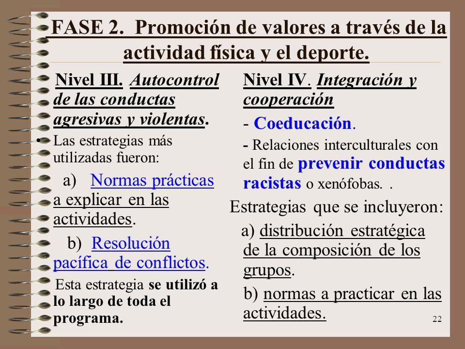 FASE 2. Promoción de valores a través de la actividad física y el deporte.