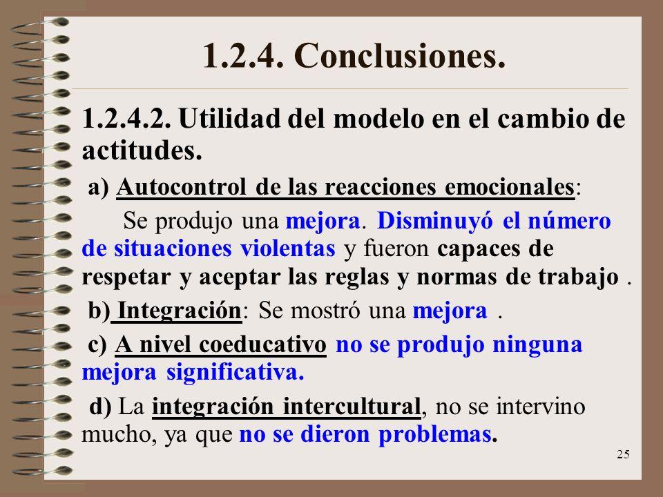 1.2.4. Conclusiones.1.2.4.2. Utilidad del modelo en el cambio de actitudes. a) Autocontrol de las reacciones emocionales: