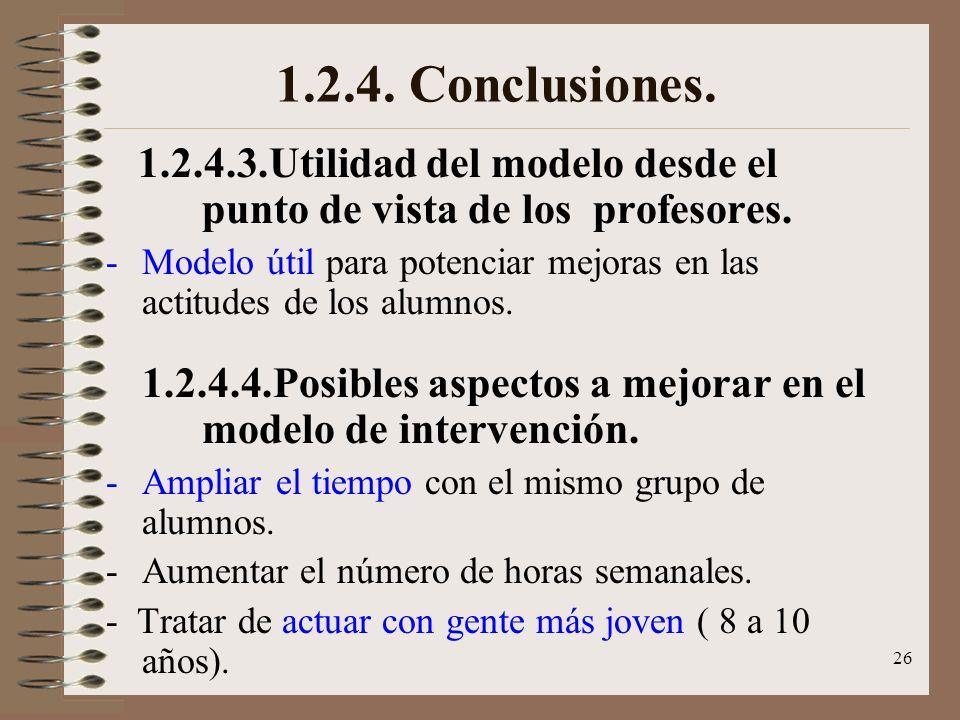 1.2.4. Conclusiones. 1.2.4.3.Utilidad del modelo desde el punto de vista de los profesores.