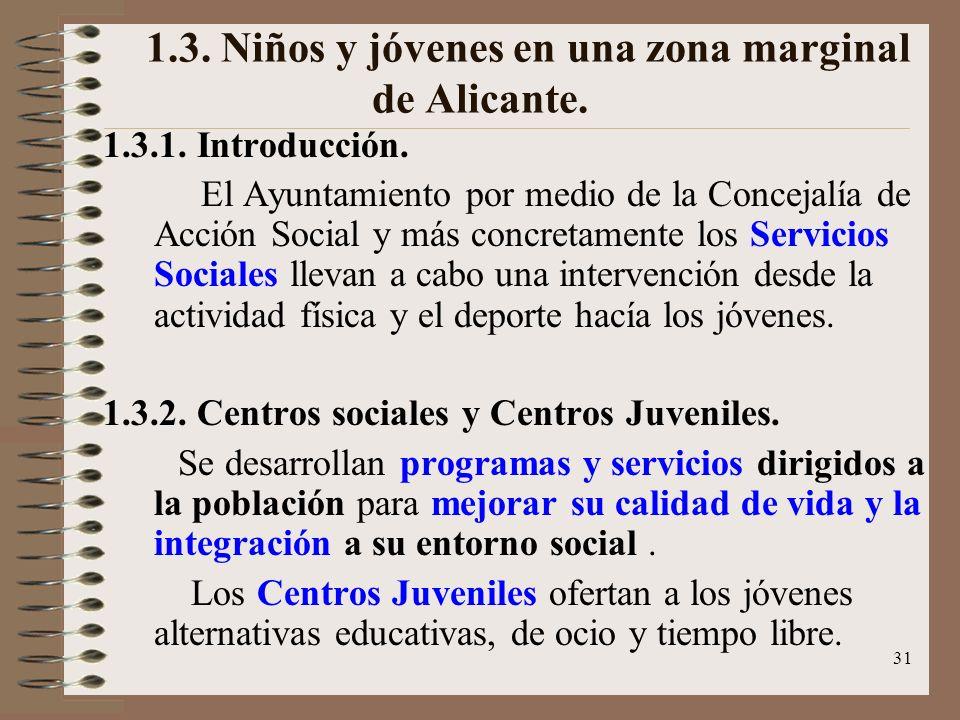 1.3. Niños y jóvenes en una zona marginal de Alicante.